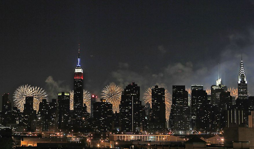 The skyline of Midtown Manhattan, seen from across the East River in the Queens borough of New York, is backlit by shells exploding over the Hudson River during the Macy's Fourth of July fireworks show Sunday, July 4, 2010 in New York.  (AP Photo/Jason DeCrow)