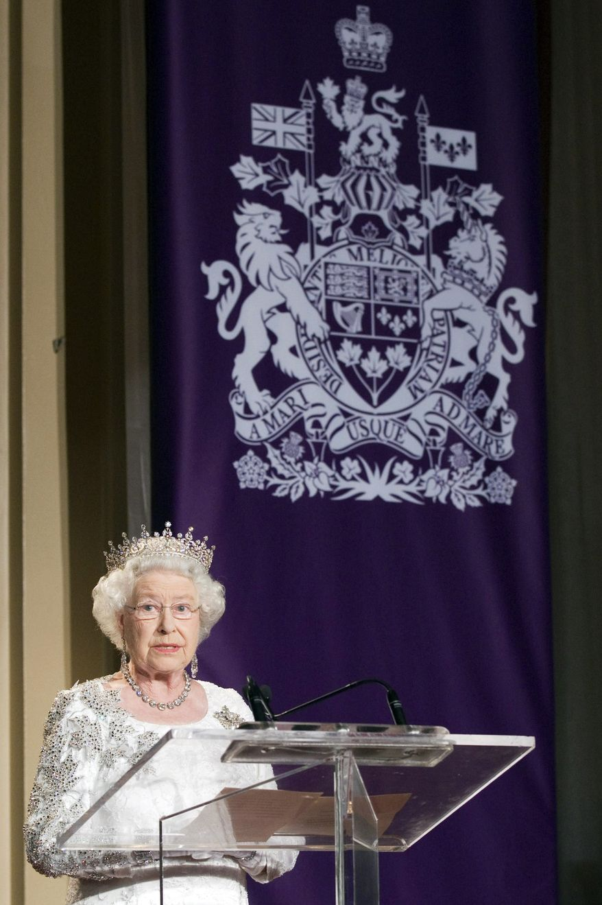 Queen Elizabeth II speaks at a state dinner in Toronto on Monday July 5, 2010. (AP Photo/The Canadian Press, Frank Gunn)