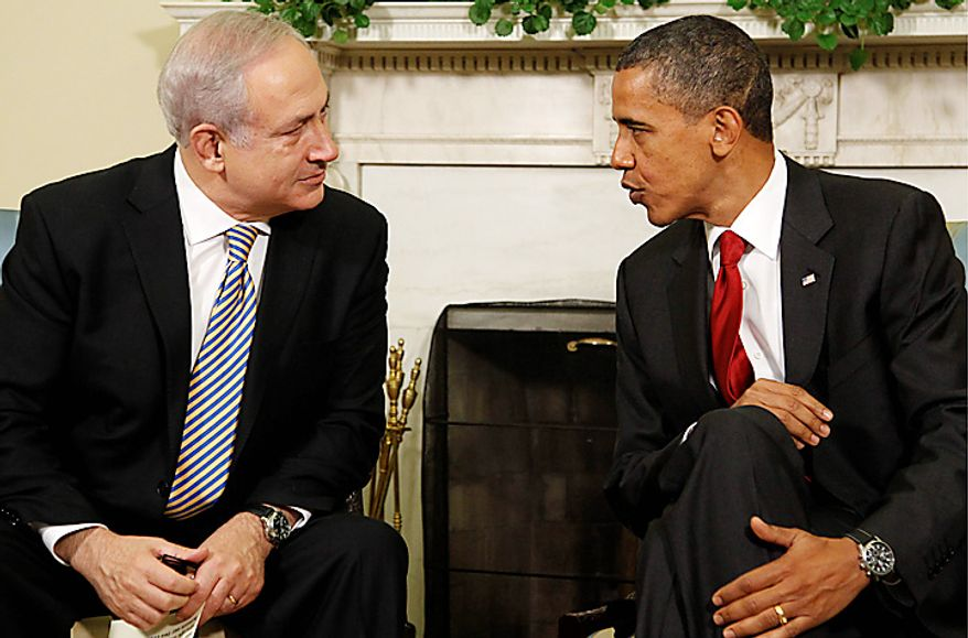 Israeli Prime Minister Benjamin Netanyahu meets with President Barack Obama in the Oval Office of the White House in Washington, Tuesday, July 6, 2010. (AP Photo/Pablo Martinez Monsivais)