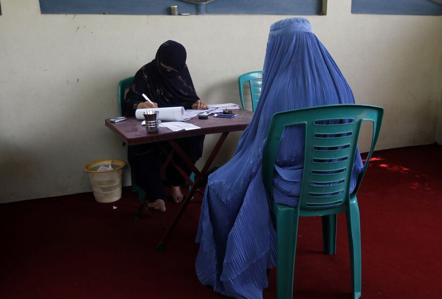 An Afghan woman registers to get a voting card for the upcoming parliamentary elections scheduled for September, in Jalalabad, east of Kabul, Afghanistan, Wednesday, July 7, 2010. (AP Photo/Rahmat Gul)