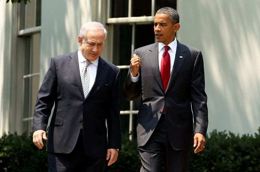 "President Obama confers with Israeli leader Benjamin Netanyahu after a White House meeting Tuesday. ""The bond between the United States and Israel is unbreakable,"" Mr. Obama said. (Bloomberg)"