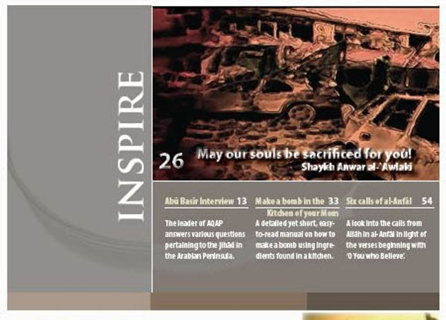 A page from the first edition of Inspire, an online recruitment tool for jihadists that touts itself as the first magazine to be issued by al Qaeda in English. Al Qaeda in Yemen published a second edition of the magazine on Tuesday, Oct. 12, 2010.
