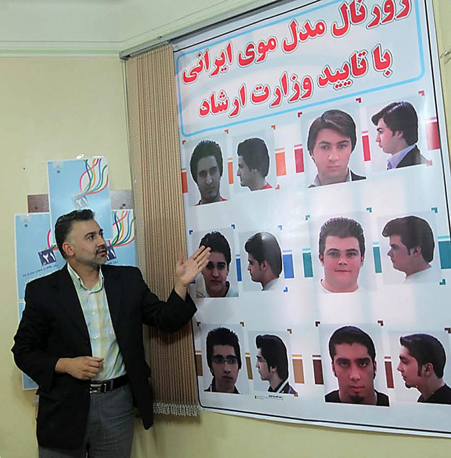 In this picture released by the semi-official Iranian Mehr News Agency, an official explains about haircuts for men culturally appropriated by the Iran's Ministry of Culture and Islamic Guidance, in Tehran, Iran, on Monday, July 5, 2010. An Iranian fashion organization has issued a new list of culturally appropriate haircuts for men, possibly indicating a new crackdown on male attire after years of strict rules for women, Iranian media reported. (AP Photo/Mehr News Agency, Mohsen Rezaei/HO)