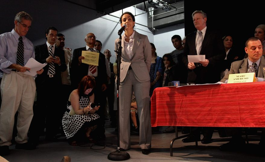 Rudi Odeh-Ramadan, of New York, speaks in support of a group planning a proposed mosque near ground zero in New York. Three separate plans to build Muslim worship centers in the city have raised issues from some community members. (Associated Press)