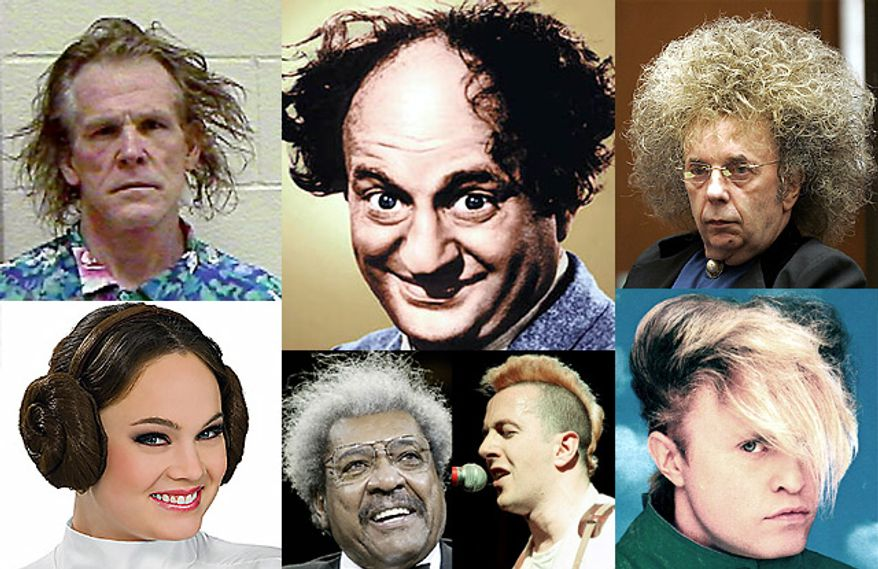 "Haircuts NOT approved by the Iranian Ministry of Culture include styles worn by Nick Nolte, Larry Fine, Phil Spector, Princess Leia, Don King, Joe Strummer and ""A Flock of Seagulls."""