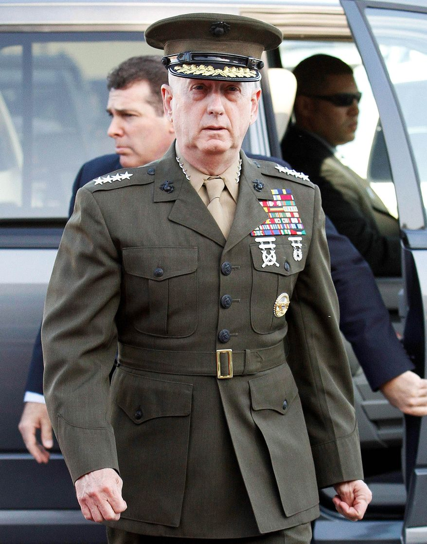 ** FILE ** Marine Corps Gen. James N. Mattis arrives at Camp Pendleton Marine Corps Base in San Diego County, Calif. (Associated Press)