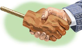 Illustration: Hand shake by Alexander Hunter for The Washington Times