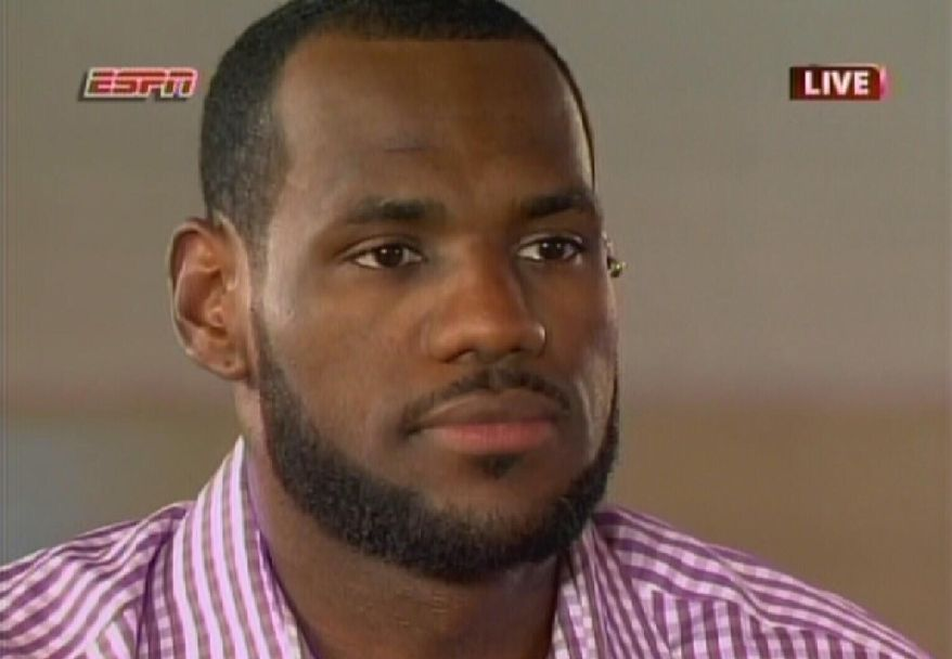 ASSOCIATED PRESS In this image from video, NBA free agent LeBron James speaks about his decision to play next year with the Miami Heat, during an interview on ESPN on Thursday, July 8, 2010, in Greenwich, Conn.