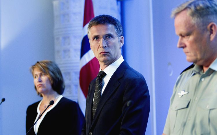 ** FILE ** Norwegian Minister of Defense Grete Faremo, left, Prime Minister Jens Stoltenberg, center, and Chief of Defense Harald Sunde give a media conference Monday June 28, 2010, in Oslo, after four of Norway's soldiers died after a roadside bomb exploded that Sunday evening near their vehicle in northern Afghanistan. (AP Photo/Scanpix Norway/Gorm Kallestad)