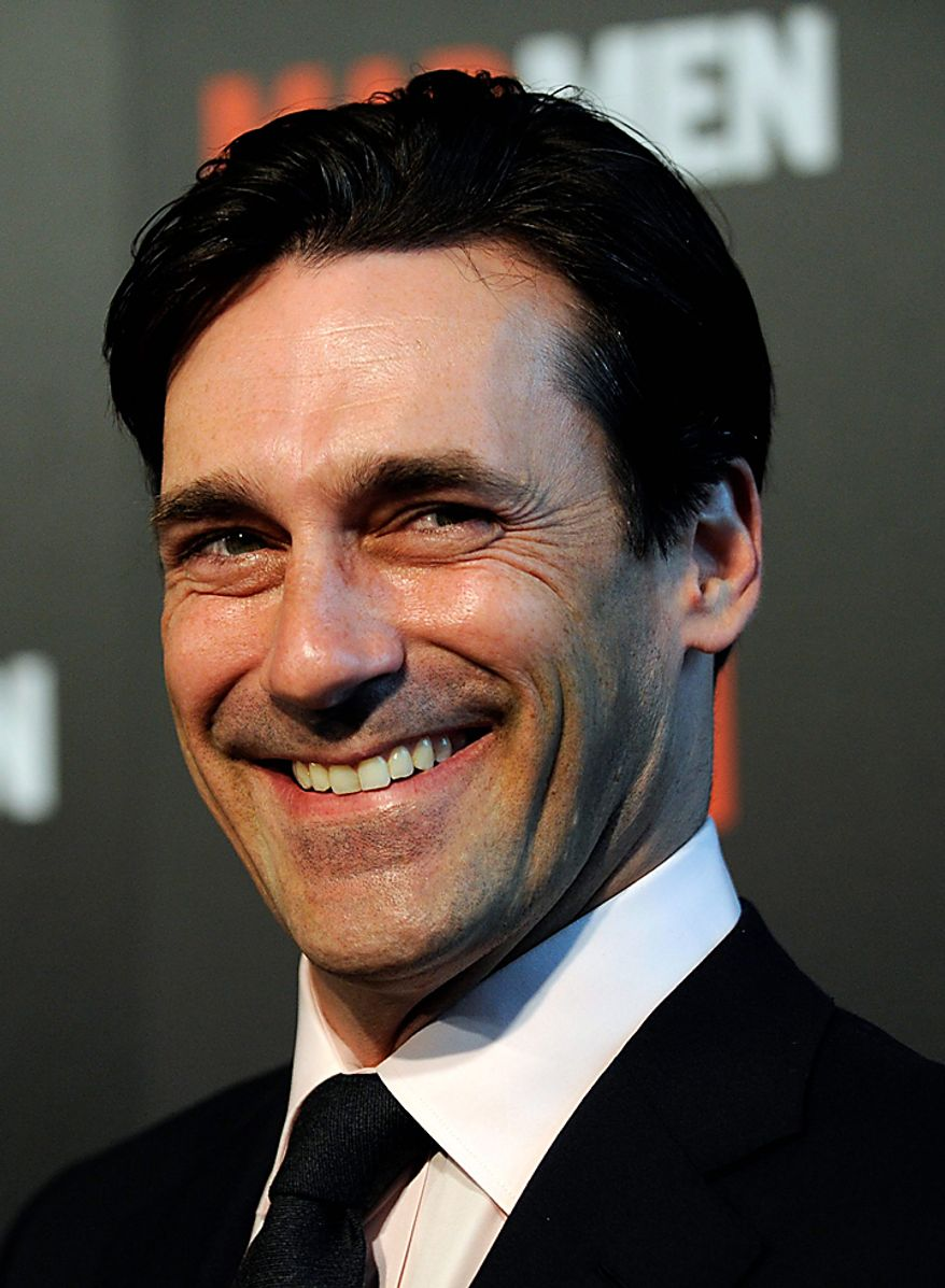 """In this Aug. 3, 2009 file photo, actor Jon Hamm arrives at the Season 3 premiere of the AMC series """"Mad Men"""" in Los Angeles. Hamm was nominated for an Emmy, Thursday, July 7, 2010, for best actor in a drama series for his role in """"Mad Men."""" The 62nd Primetime Emmy Awards will be held on Sunday, Aug. 29. (AP Photo/Chris Pizzello, file)"""