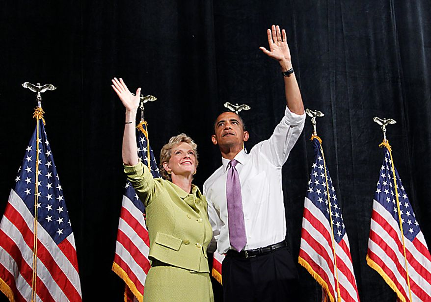 President Barack Obama and Missouri Senate hopeful Robin Carnahan during a campaign rally for in Kansas City, Mo., Thursday, July 8, 2010. (AP Photo/Pablo Martinez Monsivais)