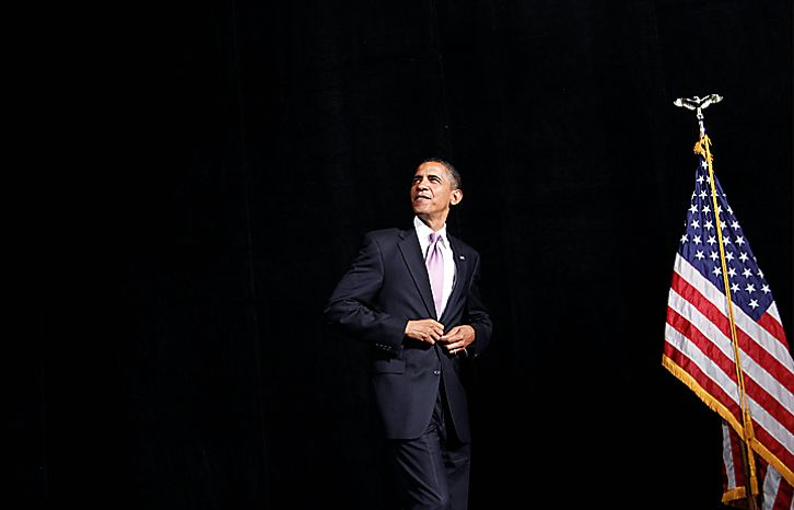 President Barack Obama walks into a campaign fundraiser for Missouri Senate hopeful Robin Carnahan, Thursday, July 8, 2010, in Kansas City, Mo. (AP Photo/Pablo Martinez Monsivais)