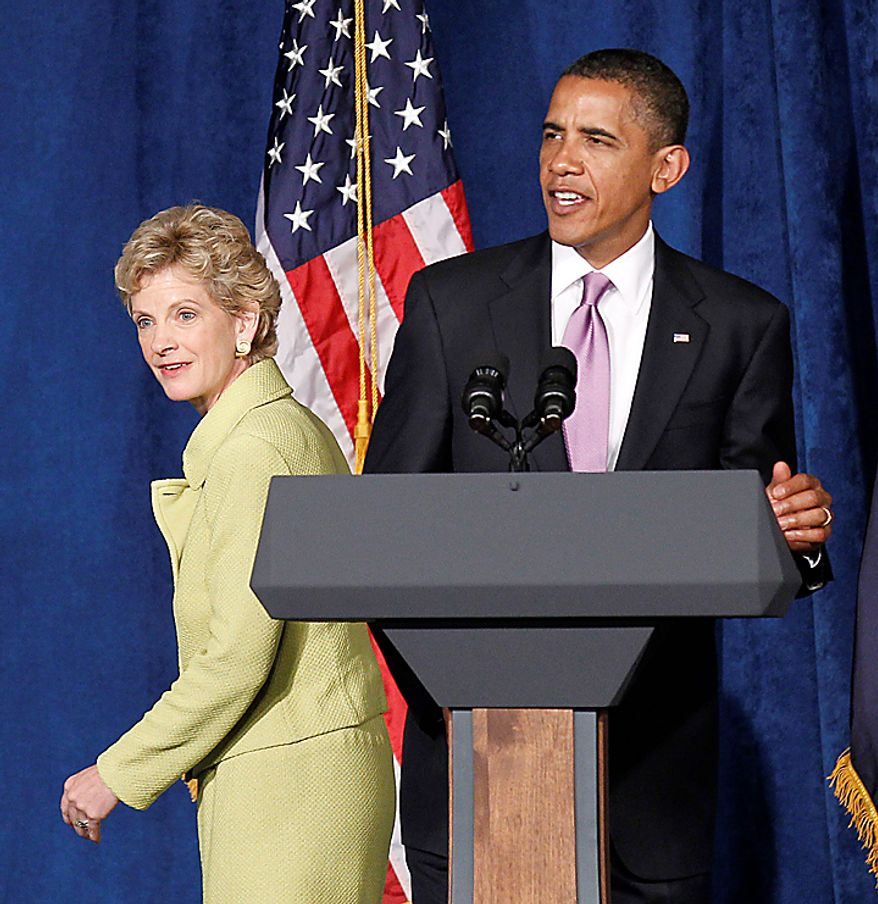 President Barack Obama and Missouri Senate hopeful Robin Carnahan take part in a campaign fundraiser, Thursday, July 8, 2010, in Kansas City, Mo. (AP Photo/Pablo Martinez Monsivais)