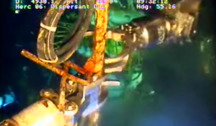 In this image taken from video provided by BP PLC, the arm of a remotely operated vehicle works at the Deepwater Horizon oil spill site in the Gulf of Mexico, Saturday, July 10, 2010. Undersea robots manipulated by engineers a mile above were expected to begin work Saturday removing the containment cap over the gushing well head in the Gulf of Mexico to replace it with a tighter-fitting cap that could funnel all the oil to tankers at the surface. If all goes according to plan, the tandem of the tighter cap and the tankers could keep all the oil from polluting the fragile Gulf as soon as Monday. But it would be only a temporary solution to the catastrophe unleashed by a drilling rig explosion. It won't plug the busted well and it remains uncertain that it will succeed. (AP Photo/BP PLC)