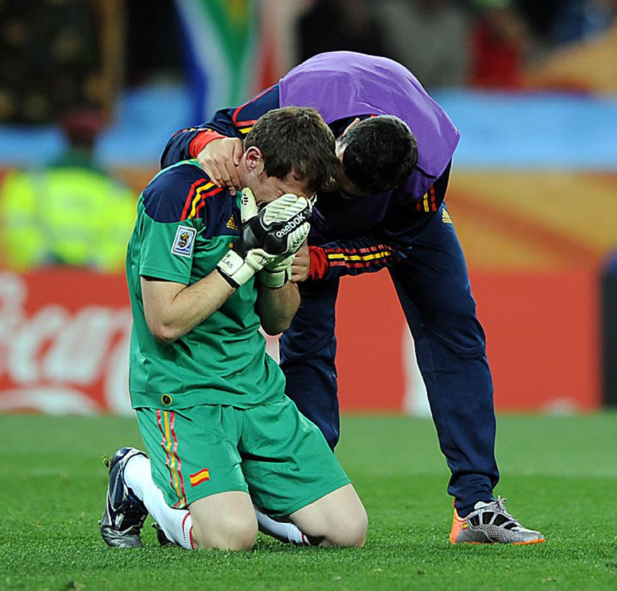 Iker Casillas of Spain is overcome with emotion following the FIFA World Cup Final match at Soccer City Stadium in Johannesburg, South Africa on July 11, 2010. (UPI/Chris Brunskill)
