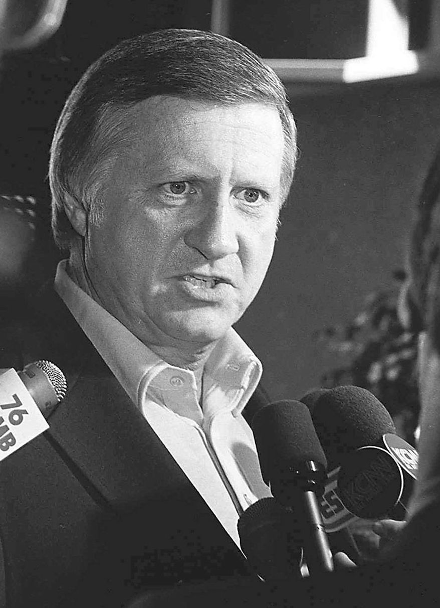 In an April 25, 1974, photo, George Steinbrenner talks with members of the press at Yankee Stadium in New York. A person close to George Steinbrenner says the Yankees owner died Tuesday morning, July 13, 2010. (AP Photo, File)