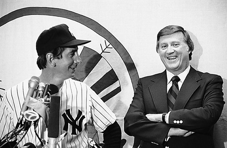 This June 29, 1978, file photo shows New York Yankees principal owner George Steinbrenner laughing as Billy Martin answers reporters' questions at a news conference after the Old Timers' Day game at Yankee Stadium in New York. A person close to George Steinbrenner says the Yankees owner died Tuesday morning, July 13, 2010. (AP Photo/Harris, File)