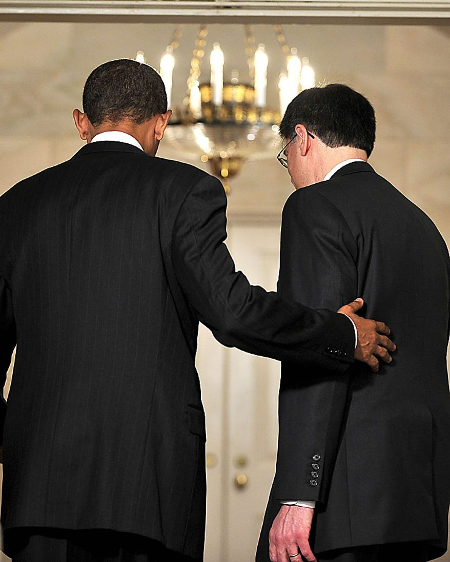 """President Barack Obama, right, and Jacob J. """"Jack"""" Lew, right, depart from the Diplomatic Reception Room of the White House after Mr. Lew was named to serve as director of the Office of Management and Budget (OMB) in Washington, D.C., on Tuesday, July 13, 2010. (UPI/Ron Sachs/POOL)"""
