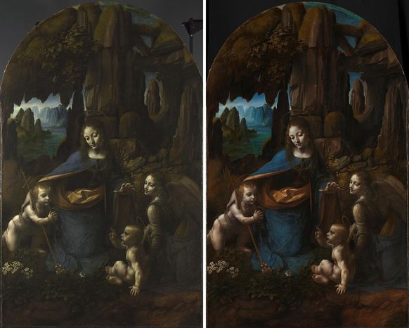 """An undated image made available by the National Gallery in London of Leonardo da Vinci's Virgin on the Rocks before (left) and after restoration. The gallery says a restoration project for Leonardo da Vinci's """"Virgin of the Rocks"""" has revealed new details and suggest that the painter may have painted all the picture himself, instead of with his assistants as previously thought. (AP Photo/The National Gallery)"""
