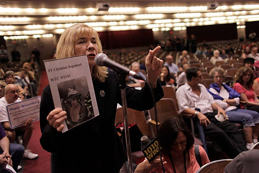 Sally Regenhard, who lost her son Christian Regenhard during the Sept. 11 attacks on the World Trade Center, speaks out against a proposal to build a mosque near ground zero during a Landmarks Commission hearing Tuesday, July 13, 2010 in New York. (AP Photo/Mary Altaffer)