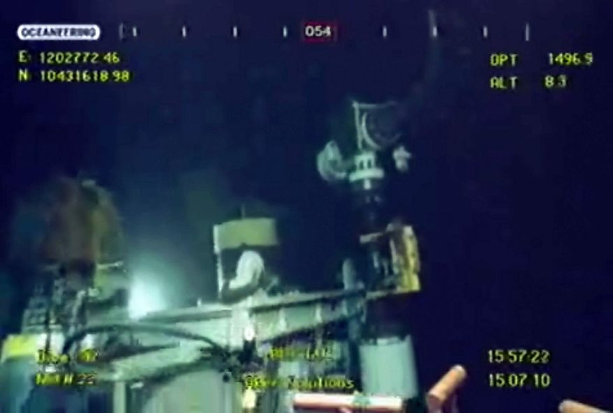 ASSOCIATED PRESS This image taken from video provided by BP shows that oil has stopped flowing in the Gulf of Mexico on Thursday.