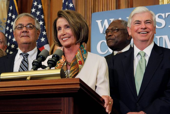 ASSOCIATED PRESS House Speaker Nancy Pelosi hails the financial-reform measure on Capitol Hill on Thursday. She is joined by Rep. Barney Frank (left), Rep. James E. Clyburn (center) and Sen. Christopher J. Dodd. The measure passed in the Senate by a 60-39 vote, and President Obama plans to sign the bill into law next week.
