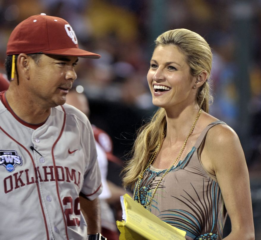 """ASSOCIATED PRESS ESPN personality Erin Andrews, right, speaks to Oklahoma coach Sunny Golloway between innings of an NCAA College World Series baseball game against Clemson in Omaha, Neb., Tuesday, June 22, 2010. Andrews will talk about sports, her experience on """"Dancing With the Stars"""" and about her advocacy for crime victims. Andrews' contract expires July 1, meaning the CWS could be her last assignment for the cable sports giant."""