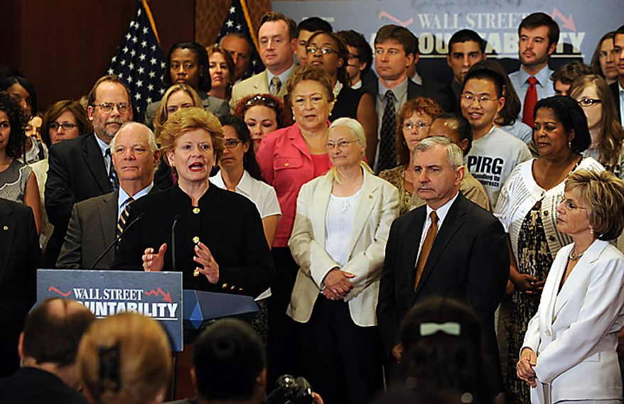 Sen. Debbie Stabenow, D-MI, speaks during a news conference following a cloture vote which all but ensures passage of the financial reform bill on Capitol Hill in Washington on July 15, 2010.    UPI/Roger L. Wollenberg