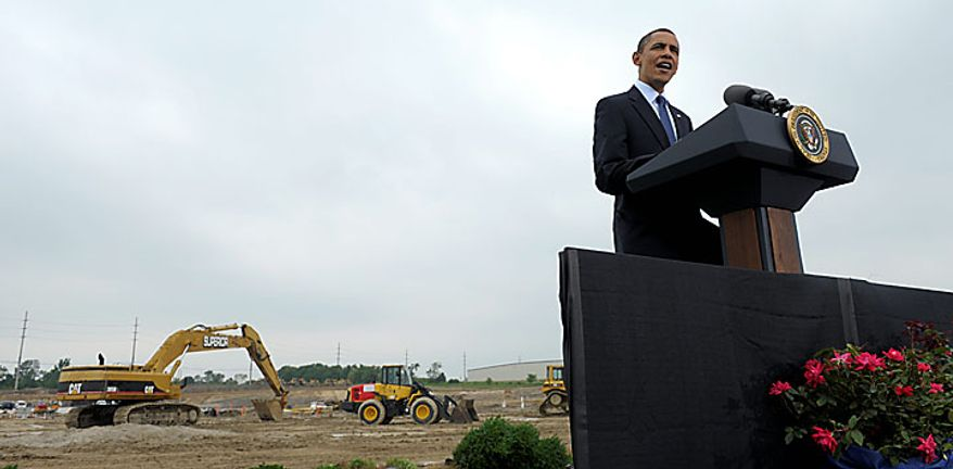 President Barack Obama delivers remarks, Thursday, July  15, 2010, at the groundbreaking ceremony at Compact Power, Inc., a subsidiary of LG Chem Ltd., a battery plant in Holland, Mich. (AP Photo/Susan Walsh)