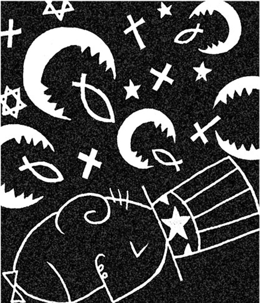 Illustration: Religion by Alexander Hunter for The Washington Times