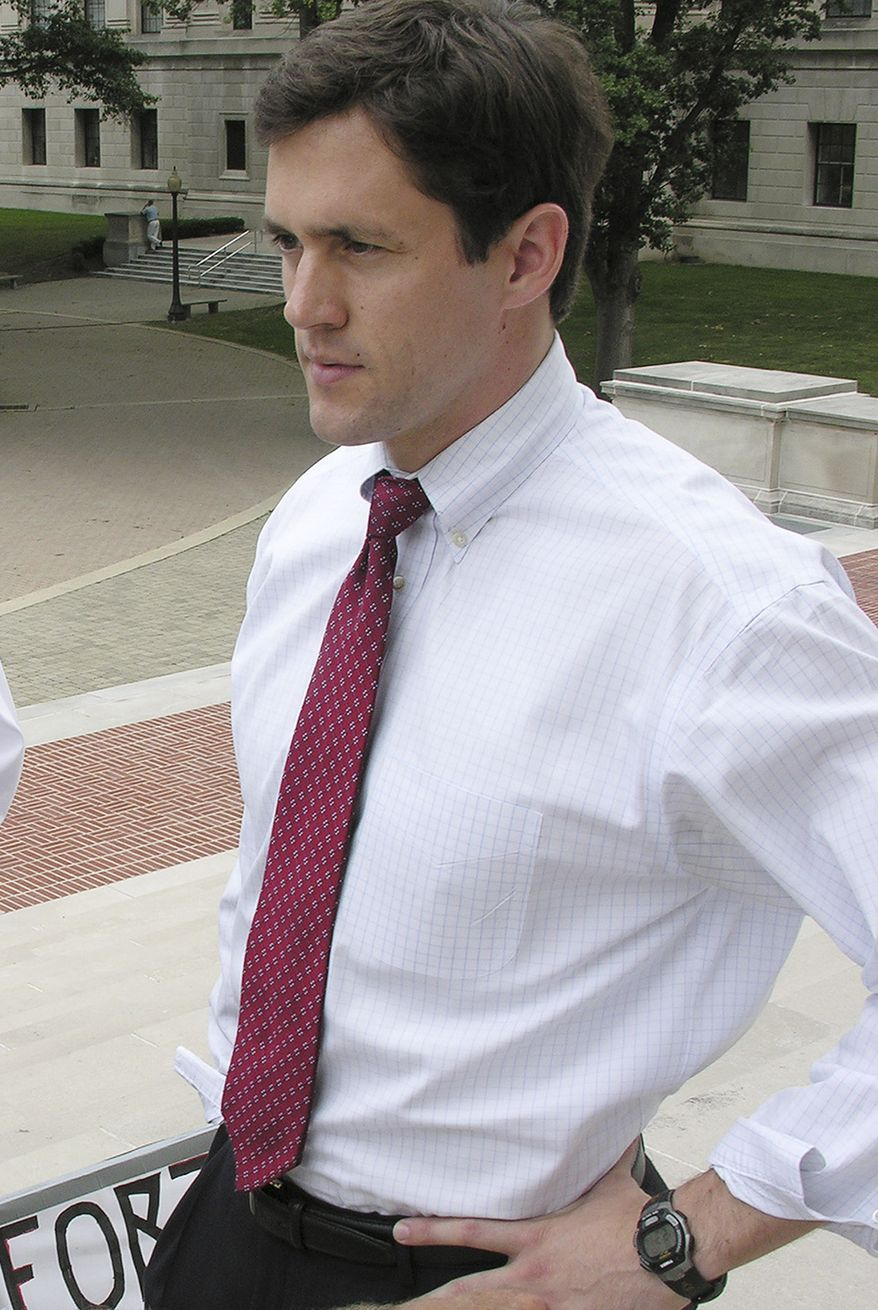 This Tuesday, July 5, 2009, file photo shows Carte Goodwin, who was West Virginia Gov. Joe Manchin's General Council, at the Capitol in Charleston, W.Va., Tuesday, July 5, 2005. Mr. Goodwin will be the governor's temporary appointee to the late U.S. Sen. Robert C. Byrd's seat. (AP Photo/Bob Bird, File)