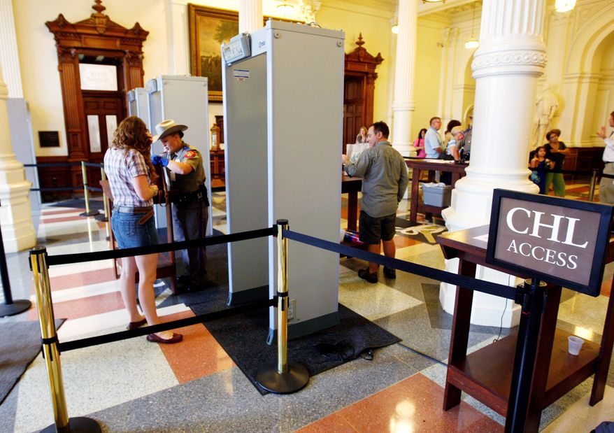 A separate security lane has been created for people who have licenses for concealed handguns, allowing them to bypass lines at the metal detectors. Capitol insiders are now signing up in droves for the course that will get them a gun license, now known as the express pass.