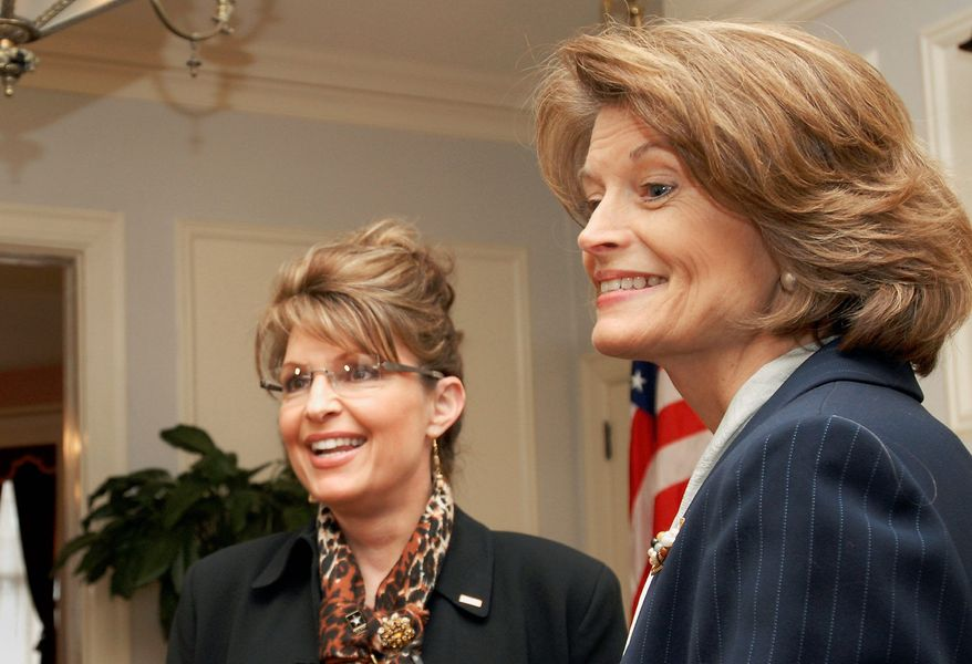 Associated Press Alaska's former governor Sarah Palin stands in the governor's mansion with Sen. Lisa Murkowski, Alaska Republican, in Juneau in 2008. Mrs. Palin has endorsed long-shot Joe Miller in his quest to unseat Mrs. Murkowski, the GOP's clear choice.