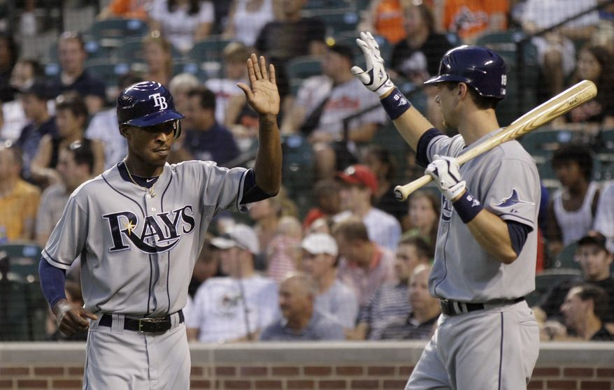ASSOCIATED PRESS Tampa Bay Rays' B.J. Upton, left, is congratulated by Ben Zobrist, right, after Upton scored against the Baltimore Orioles during the third inning of a baseball game Monday, July 19, 2010, in Baltimore.