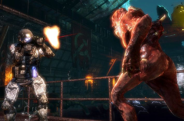 Special Forces Capt. Nathaniel Renko watches a soldier fight a mutant in Activision's first-person shooter Singularity.