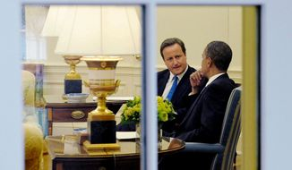 ASSOCIATED PRESS SPECIAL RELATIONSHIP: British Prime Minister David Cameron and President Obama discuss BP and the crisis in the Gulf of Mexico in the Oval Office on Tuesday.