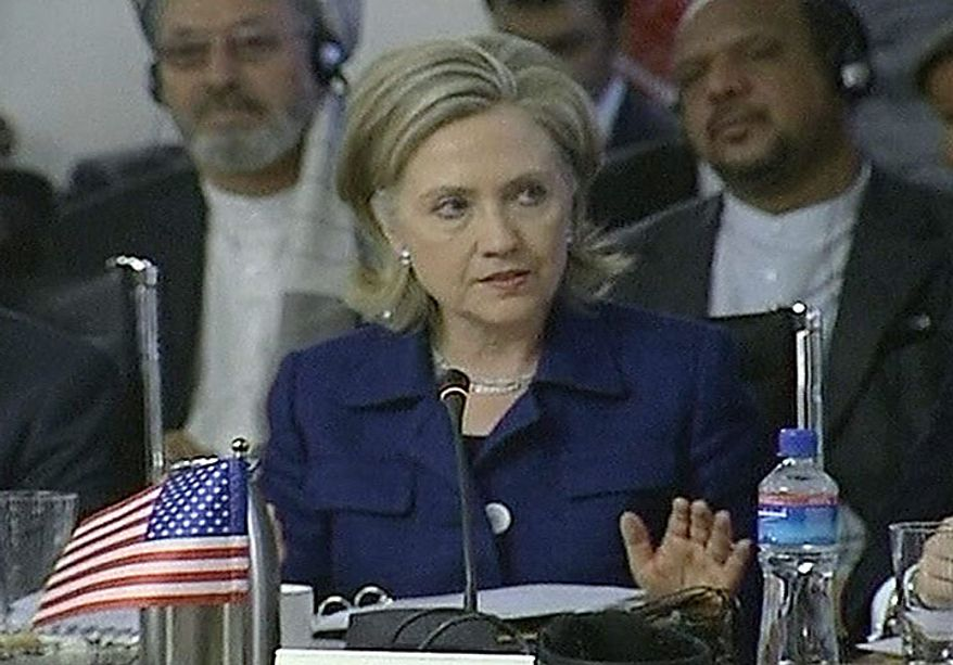 In this image made from TV footage, U.S. Secretary of State Hillary Rodham Clinton speaks at an international conference on Afghanistan's future in Kabul on Tuesday July 20, 2010. Afghan President Hamid Karzai on Tuesday reaffirmed his commitment for Afghan police and soldiers to take charge of security throughout the nation by 2014 and urged his international partners to spend their money on Afghan priorities, not short-term projects. (AP Photo/RTV via APTN)