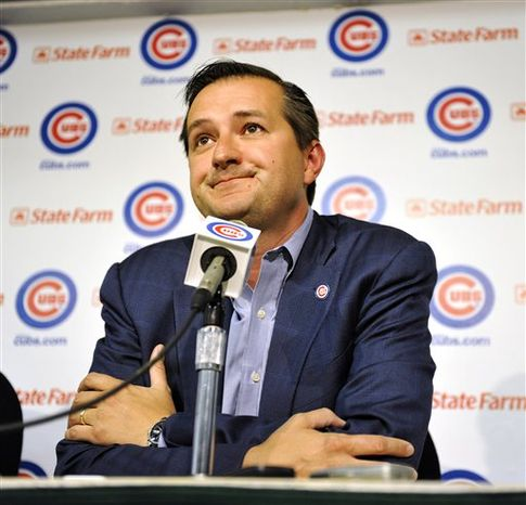 Chicago Cubs owner Tom Ricketts ponders a question about manager Lou Piniella, who announced that he will retire from coaching at the end of this season, during a baseball news conference at Wrigley Field on Tuesday, July 20, 2010, in Chicago. (AP
