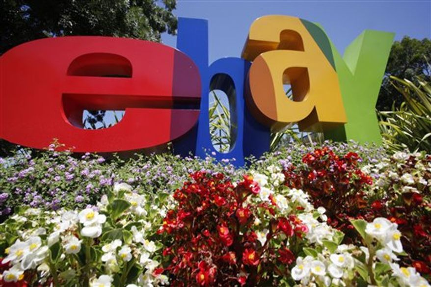 The company logo is shown at eBay headquarters in San Jose, Calif., Tuesday, July 20, 2010. Ebay Inc. releases second-quarter earnings Wednesday, July 21, 2010, after the market close.(AP Photo/Paul Sakuma)