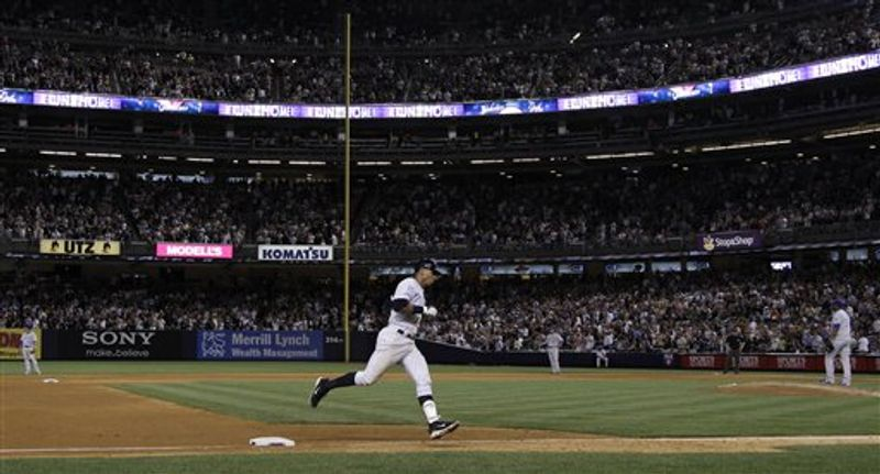 New York Yankees' Alex Rodriguez rounds third base after hitting a solo home run against the Kansas City Royals in the seventh inning of a baseball game Thursday, July 22, 2010, at Yankee Stadium in New York. The homer was the 599th of Rodriguez's career. (AP Photo/Julie Jacobson)