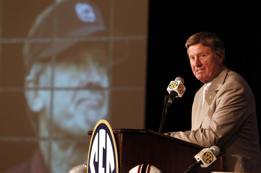 ASSOCIATED PRESS South Carolina head coach Steve Spurrier talks to the media during the Southeastern Conference football media days on Thursday, July 22, 2010, in Hoover, Ala.