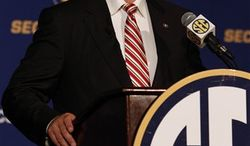 Georgia Head Coach Mark Richt talks to the media during the Southeastern Conference football media days on Thursday, July 22, 2010, in Hoover, Ala. (AP Photo/ Butch Dill)