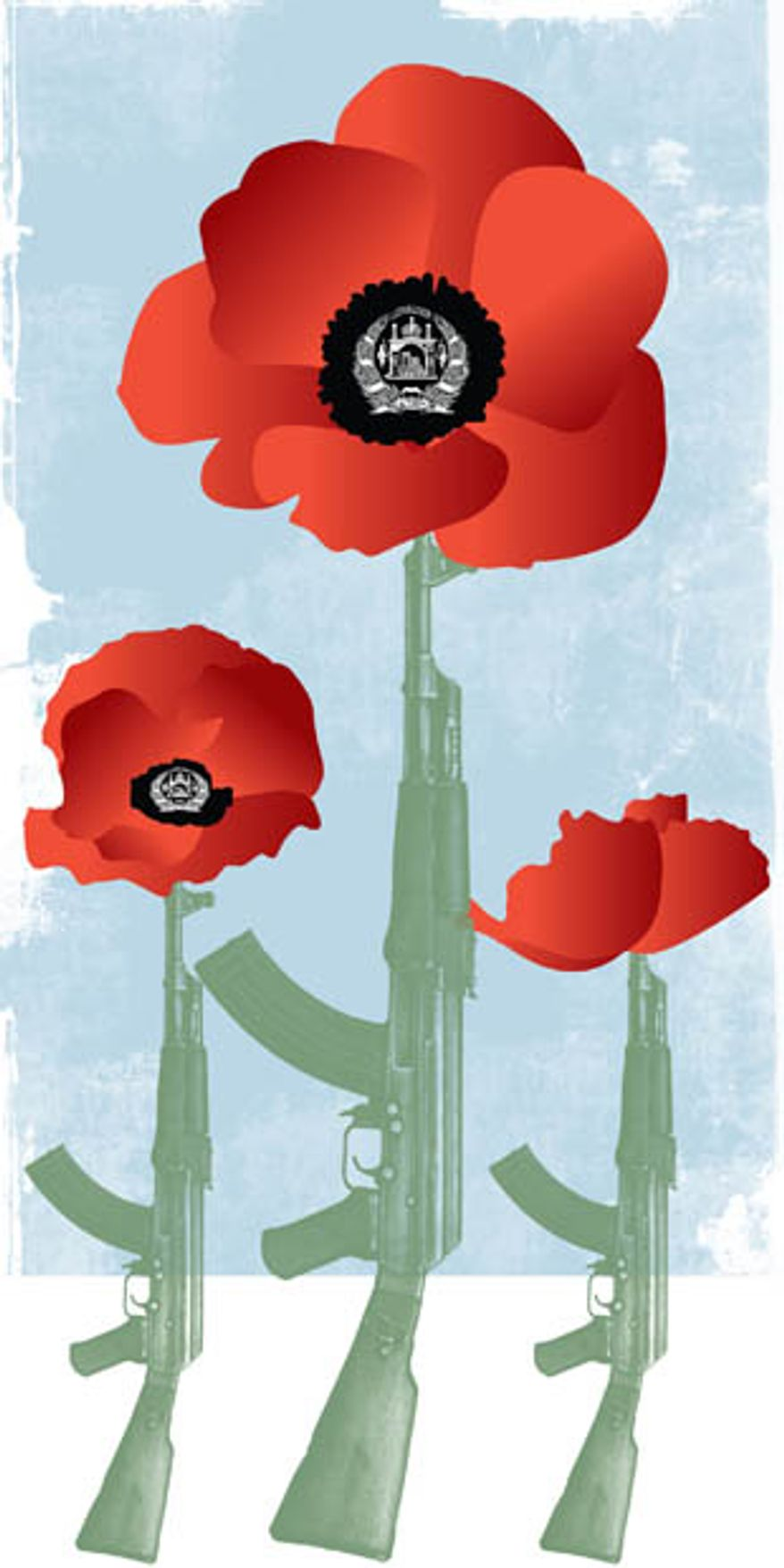 Illustration: Afghan drugs by Linas Garsys for The Washington Times