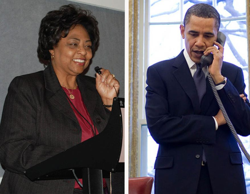 The White House said on Thursday, July 22, that the president (shown in this composite in a March 2010 photo) expressed to Ms. Sherrod his regret about the events of the last several days, noting that the phone call lasted seven minutes. (Credits: Sherrod file photo: AP/United States Department of Agriculture; Obama: Pete Souza for Associated Press)