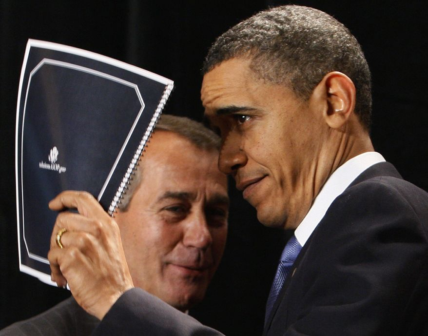 "** FILE ** In this Friday, Jan. 29, 2010, file photo, President Barack Obama holds up a document of Republican solutions given to him by House Minority Leader John Boehner of Ohio, before he spoke to Republican lawmakers at the GOP House Issues Conference in Baltimore. President Barack Obama says an economic plan by the House Republican leader just repeats job-killing policies of the past and would take the country ""backward at a time when we need to keep America moving forward."" (AP Photo/Charles Dharapak, File)"