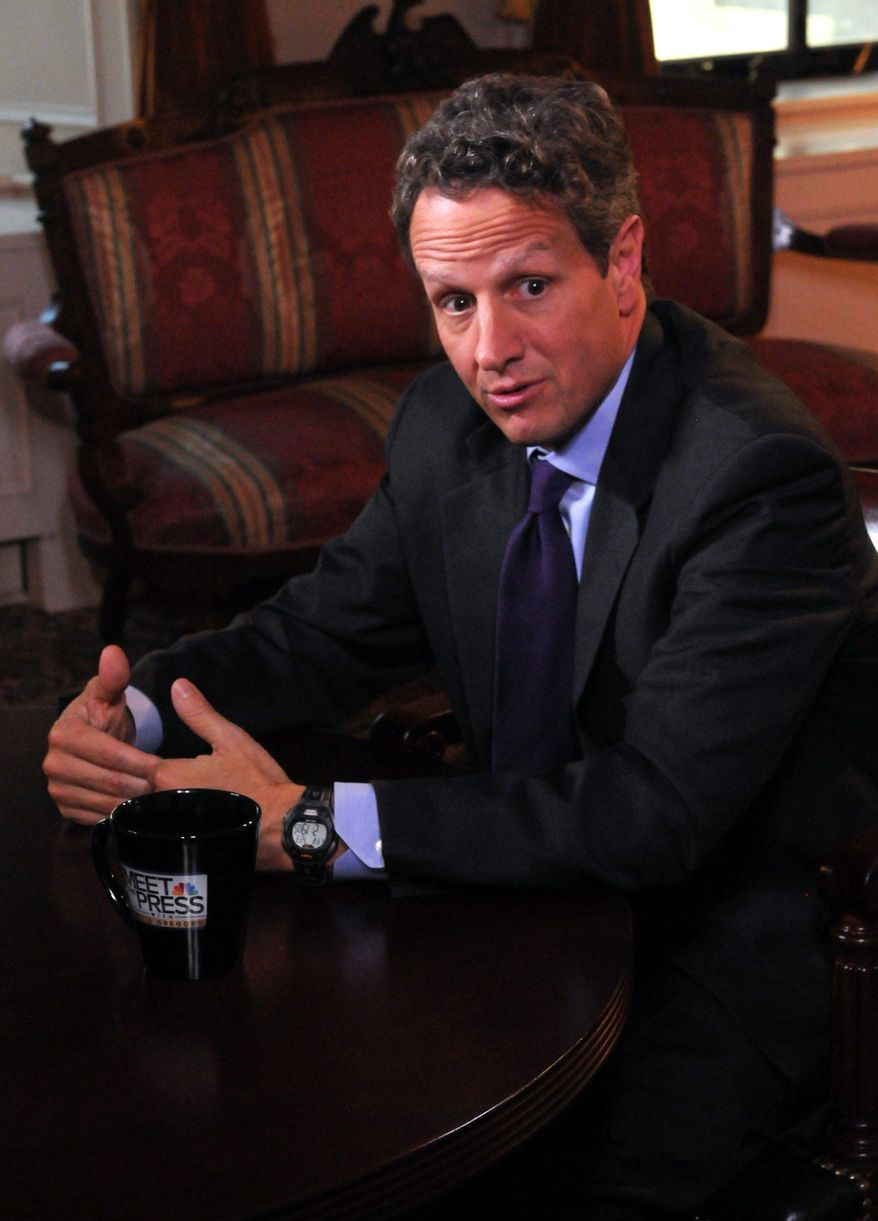 "Treasury Secretary Timothy F. Geithner said Sunday that job growth is ""taking time, but we're making progress."" (""Meet the Press"" via Associated Press)"