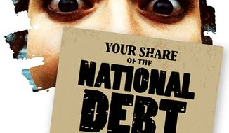 Illustration: National debt by Greg Groesch for The Washington Times