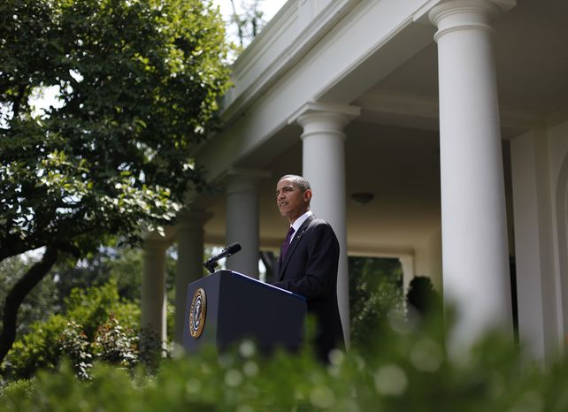 President Obama delivers remarks on campaign finance reform on Monday, July 26, 2010, in the Rose Garden of the White House in Washington. (AP Photo/Pablo Martinez Monsivais)