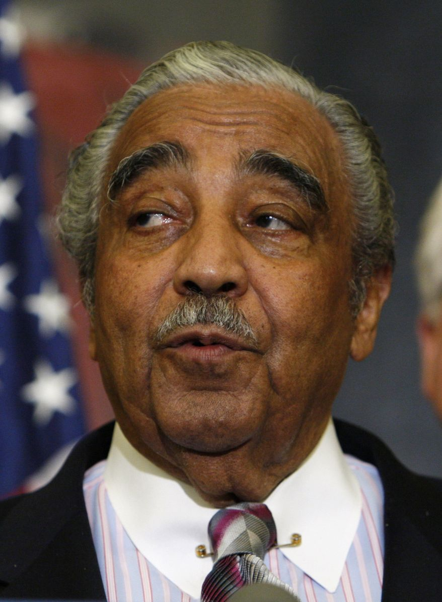 In this July 17, 2009, file photo, Rep. Charles Rangel, New York Democrat, speaks during a press conference on Capitol Hill in Washington. A House investigative committee announced Thursday, July 22, 2010, that it has charged Mr. Rangel, the former chairman of the House Ways and Means Committee, with multiple ethics violations. (AP Photo/Charles Dharapak, File)
