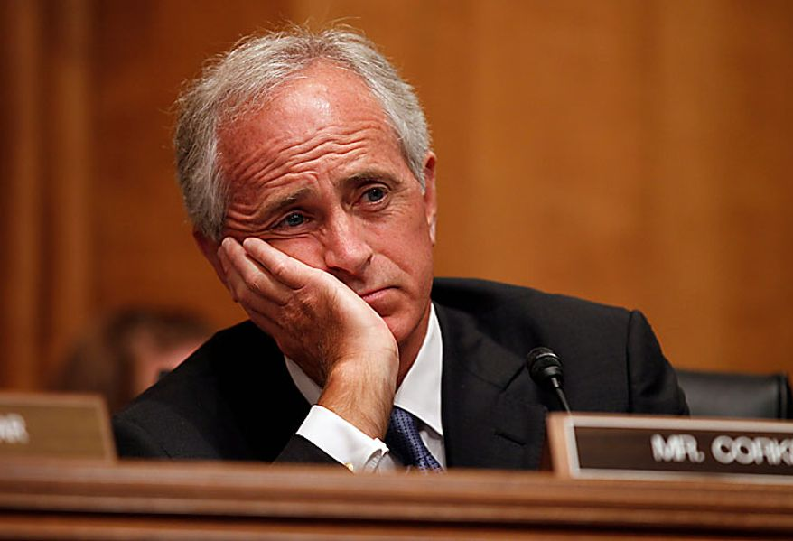 Senate Foreign Relations Committee member Sen. Bob Corker, R-Tenn., listens on Capitol Hill in Washington Tuesday, July 27, 2010, during the committee's hearing on Afghanistan. (AP Photo/Alex Brandon)